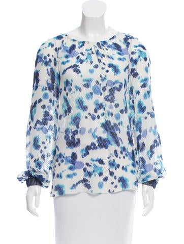 Peter Som Silk Abstract Print Top None