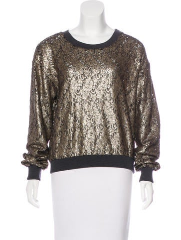 Peter Som Metallic Long Sleeve Sweater None