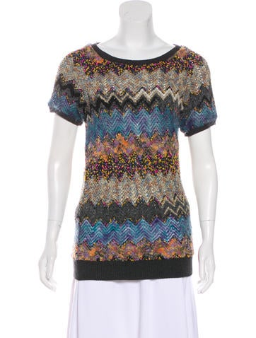 Peter Som Patterned Short Sleeve Sweater None