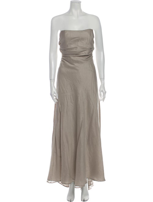 Peter Som Strapless Long Dress Grey