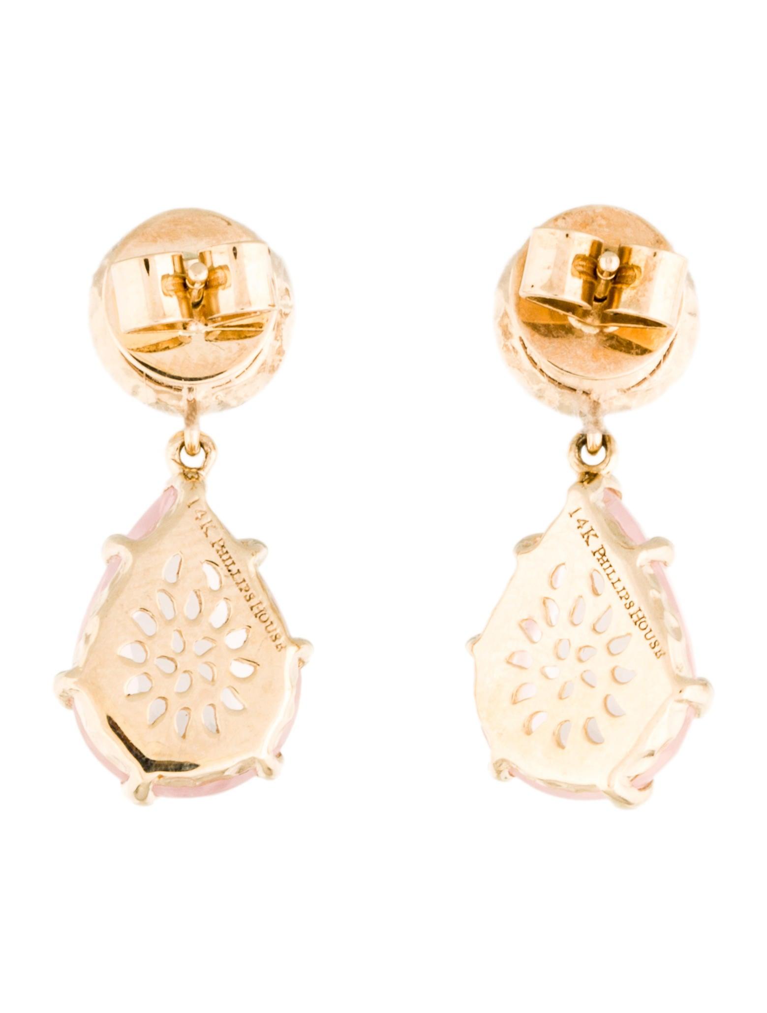 phillips house 14k diamond rose quartz sunset earrings