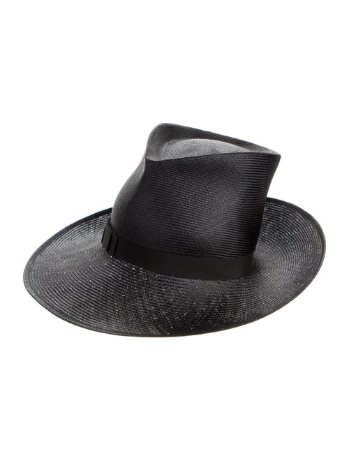 Philip Treacy Straw Wide Brim Hat Black