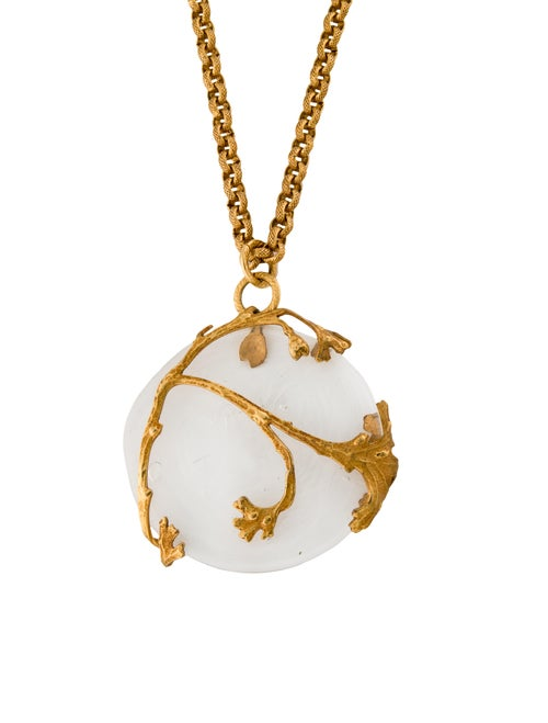 Philippe Ferrandis Crystal Pendant Necklace Gold