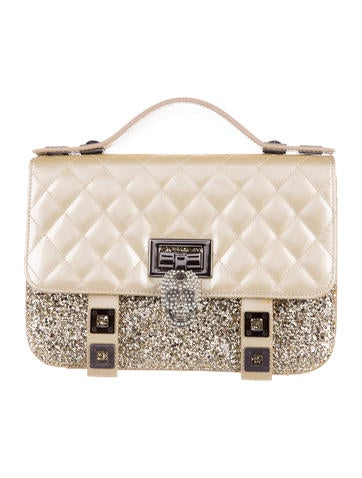 Quilted Leather & Glitter Skull Satchel