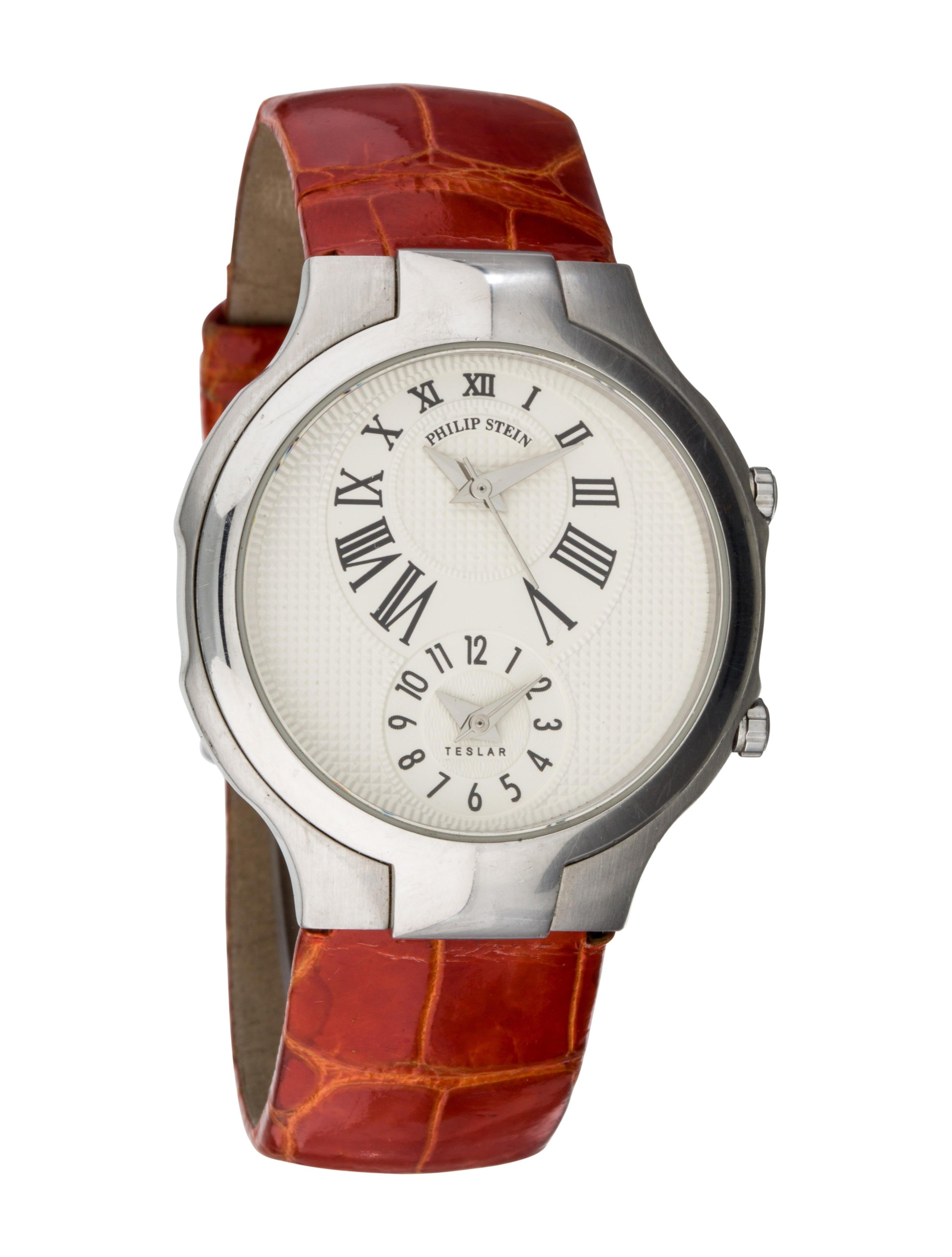 Philip stein teslar chronograph watch strap phs20158 the realreal for Philip stein watches