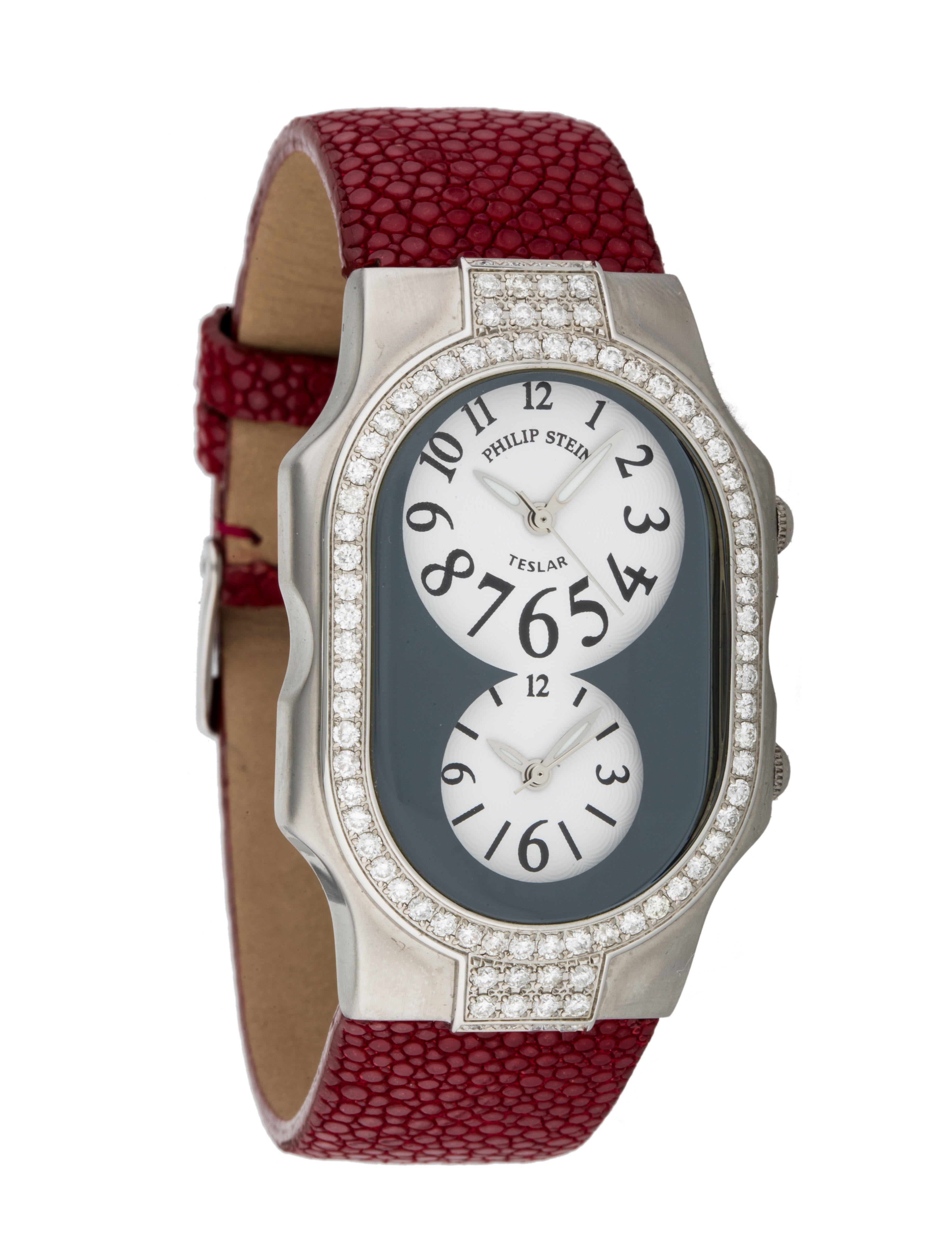 Philip stein diamond dual time zone watch strap phs20160 the realreal for Philip stein watches