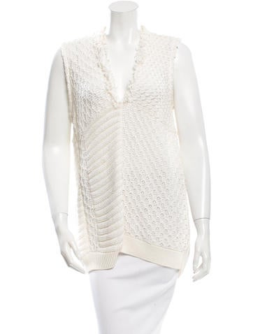 Piazza Sempione Sleeveless Open Knit Sweater None