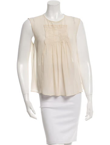 Piazza Sempione Sleeveless Rushed Silk Top None