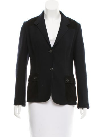 Piazza Sempione Leather-Accented Wool Jacket None