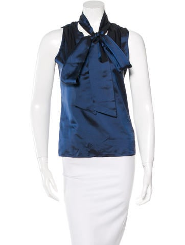 Piazza Sempione Tie-Accented Sleeveless Top None