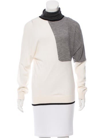 Piazza Sempione Wool Colorblock Turtleneck Top None