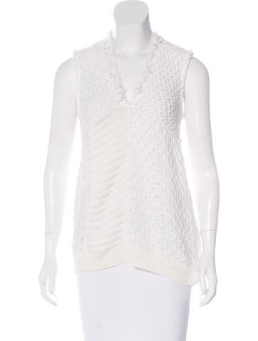 Piazza Sempione Sleeveless Open-Knit Top None