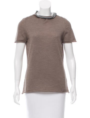 Piazza Sempione Mock Neck Wool Top None