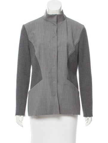 Piazza Sempione Rib Knit-Trimmed Wool Jacket None