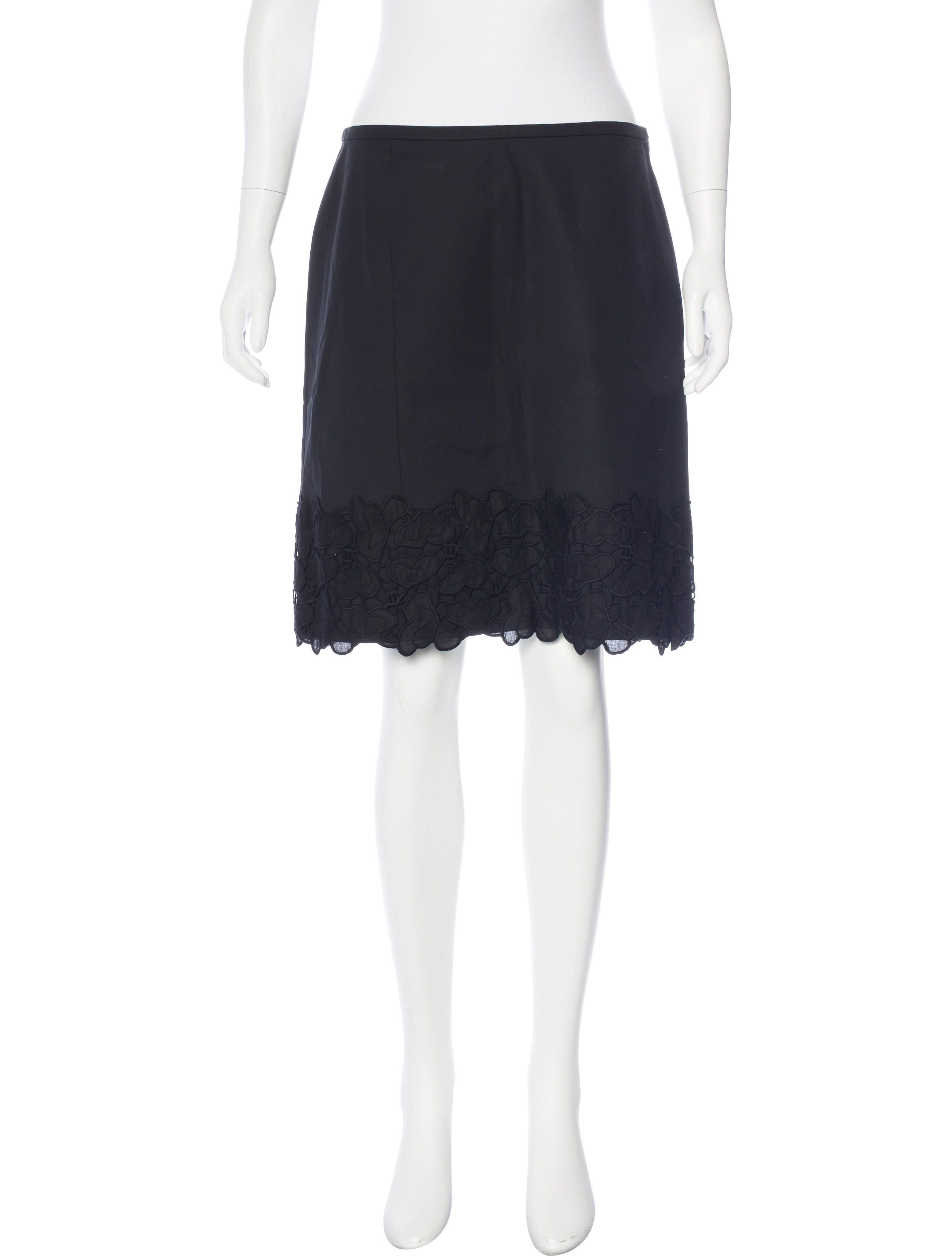piazza sempione lace trimmed knee length skirt w tags
