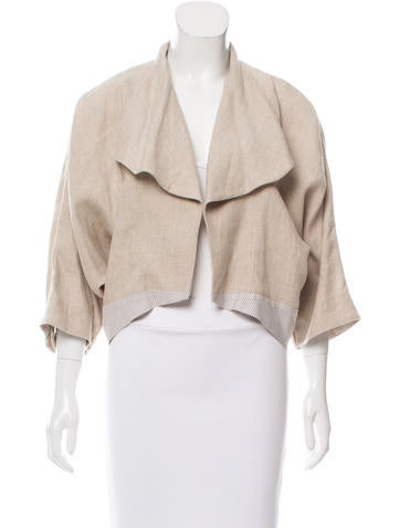 Piazza Sempione Open Front Linen Jacket None