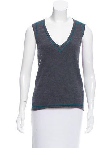 Piazza Sempione Knit Wool-Blend Top w/ Tags None