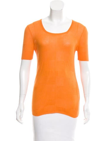 Piazza Sempione Textured Knit Short Sleeve Top None