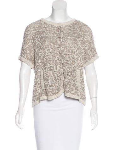 Piazza Sempione Short Sleeve Open Knit Cardigan None