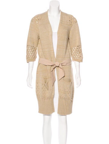 Piazza Sempione Open Knit Belted Cardigan None