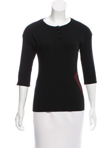 Piazza Sempione Rib Knit Intarsia Sweater None