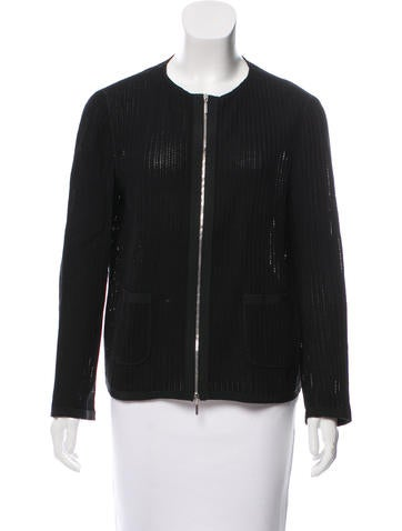 Open Knit Zip-Up Jacket None