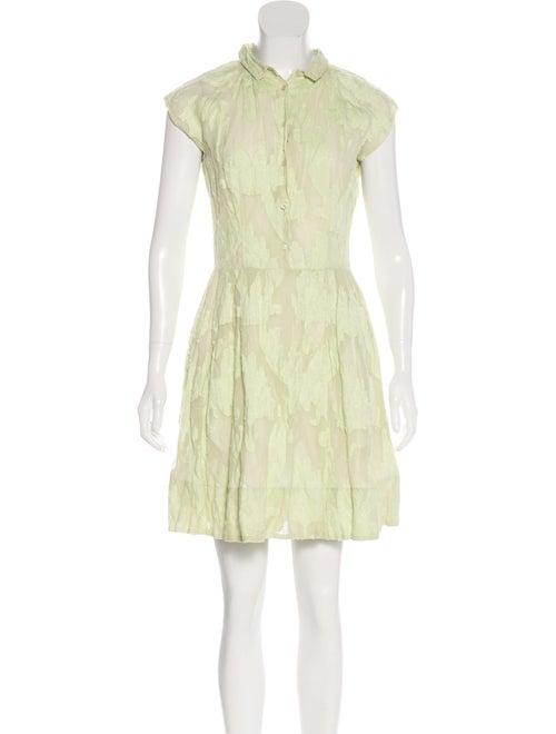 Piazza Sempione Fil Coupé Floral Dress Lime