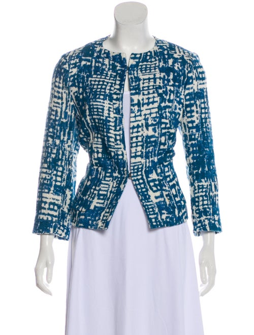 Piazza Sempione Collarless Woven Jacket Blue