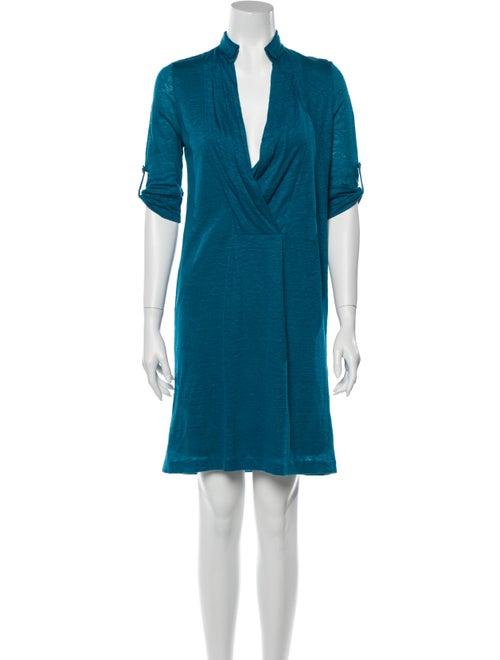 Piazza Sempione Linen Knee-Length Dress Blue