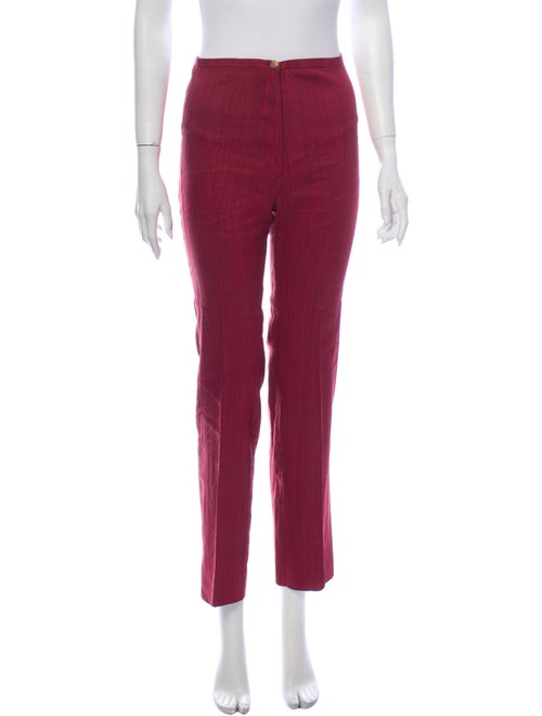 Piazza Sempione Linen Straight Leg Pants Red