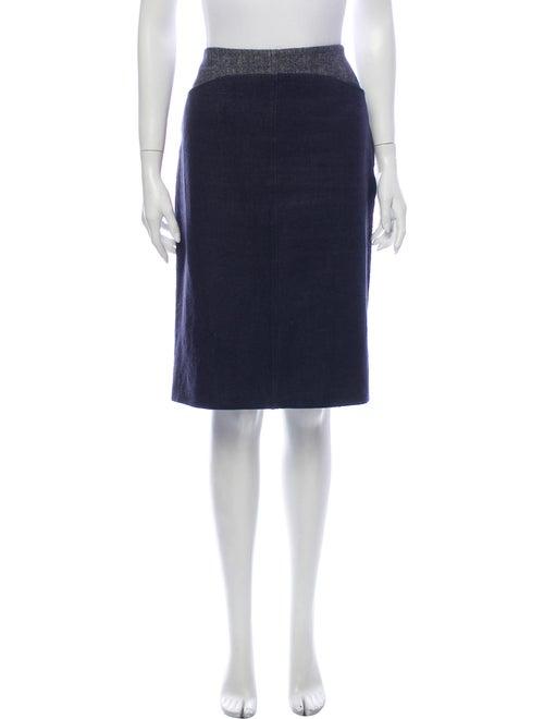 Piazza Sempione Linen Knee-Length Skirt Blue