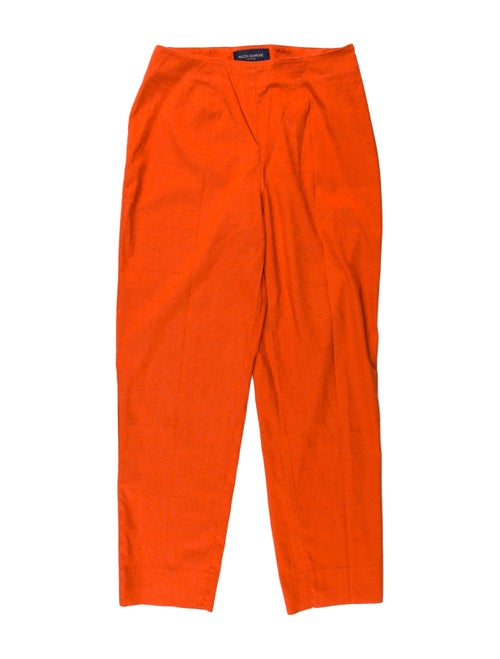 Piazza Sempione Silk Straight Leg Pants Orange