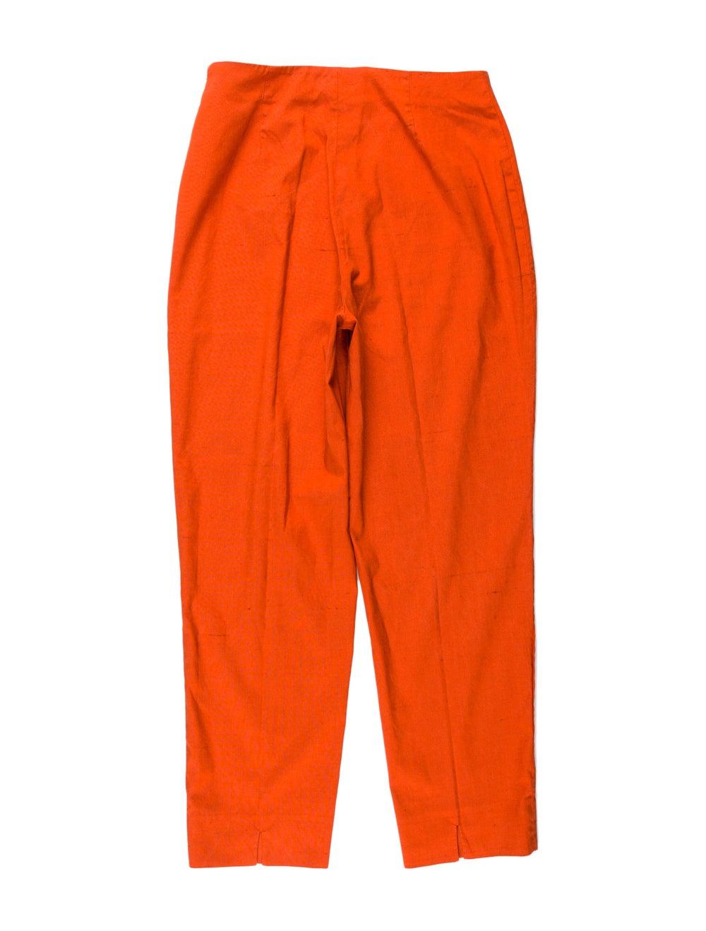 Piazza Sempione Silk Straight Leg Pants Orange - image 2