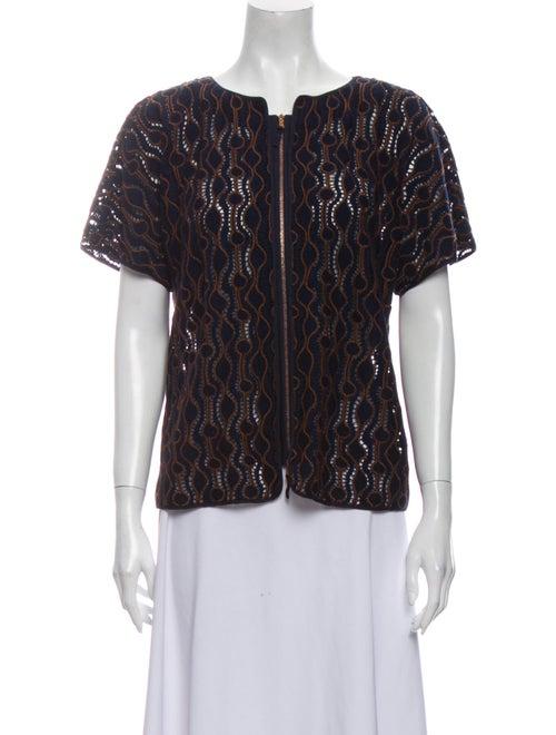 Piazza Sempione Wool Lace Pattern Blouse Wool