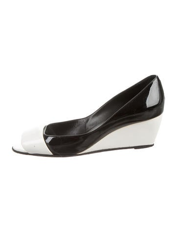 Pierre Hardy Patent Leather Peep-Toe Wedges None