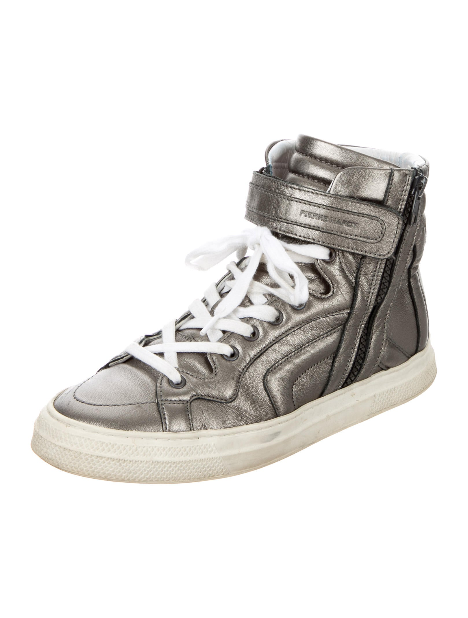 pierre hardy leather high top sneakers shoes pie23035 the realreal. Black Bedroom Furniture Sets. Home Design Ideas