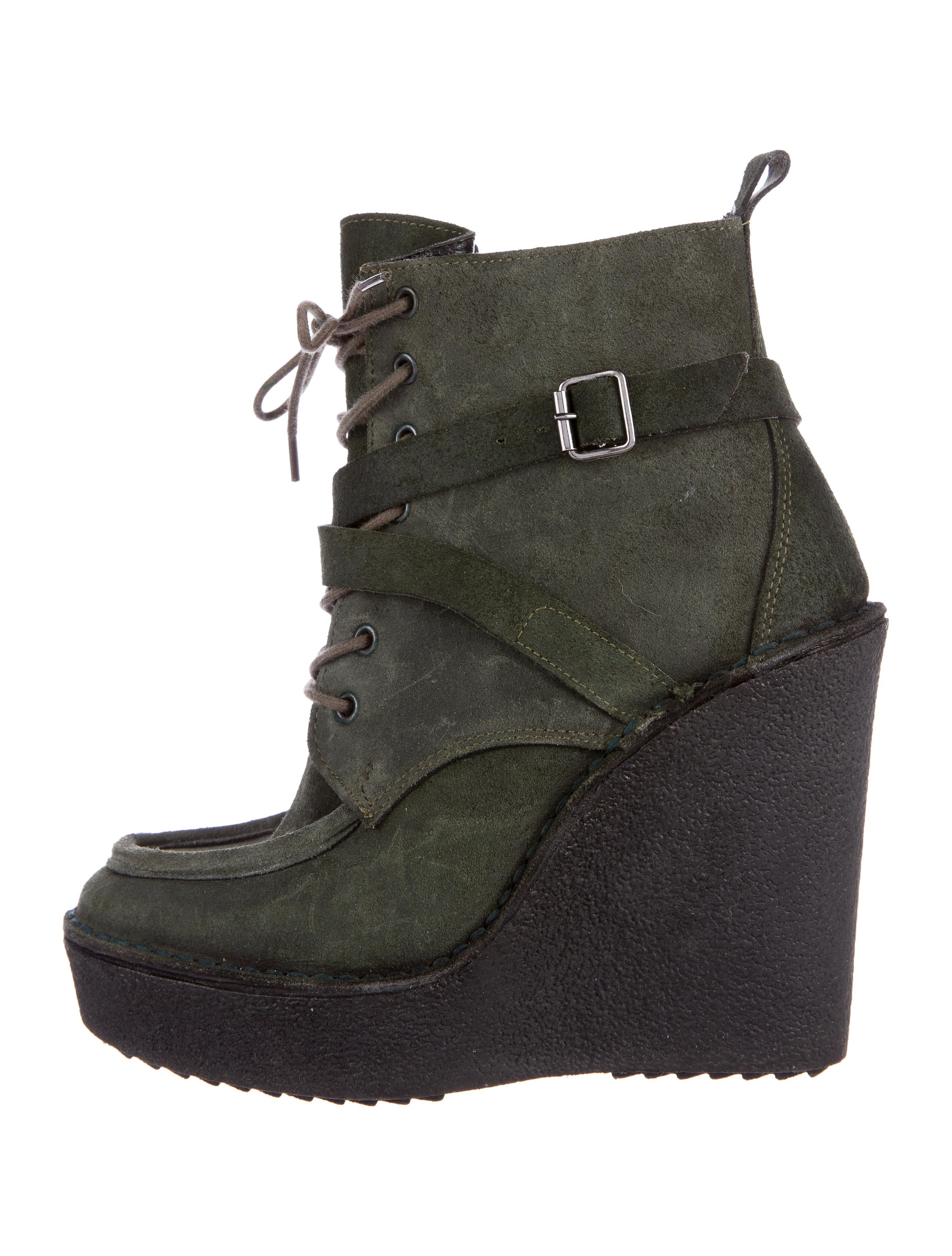 Pierre Hardy Suede Wedge Ankle Boots - Shoes