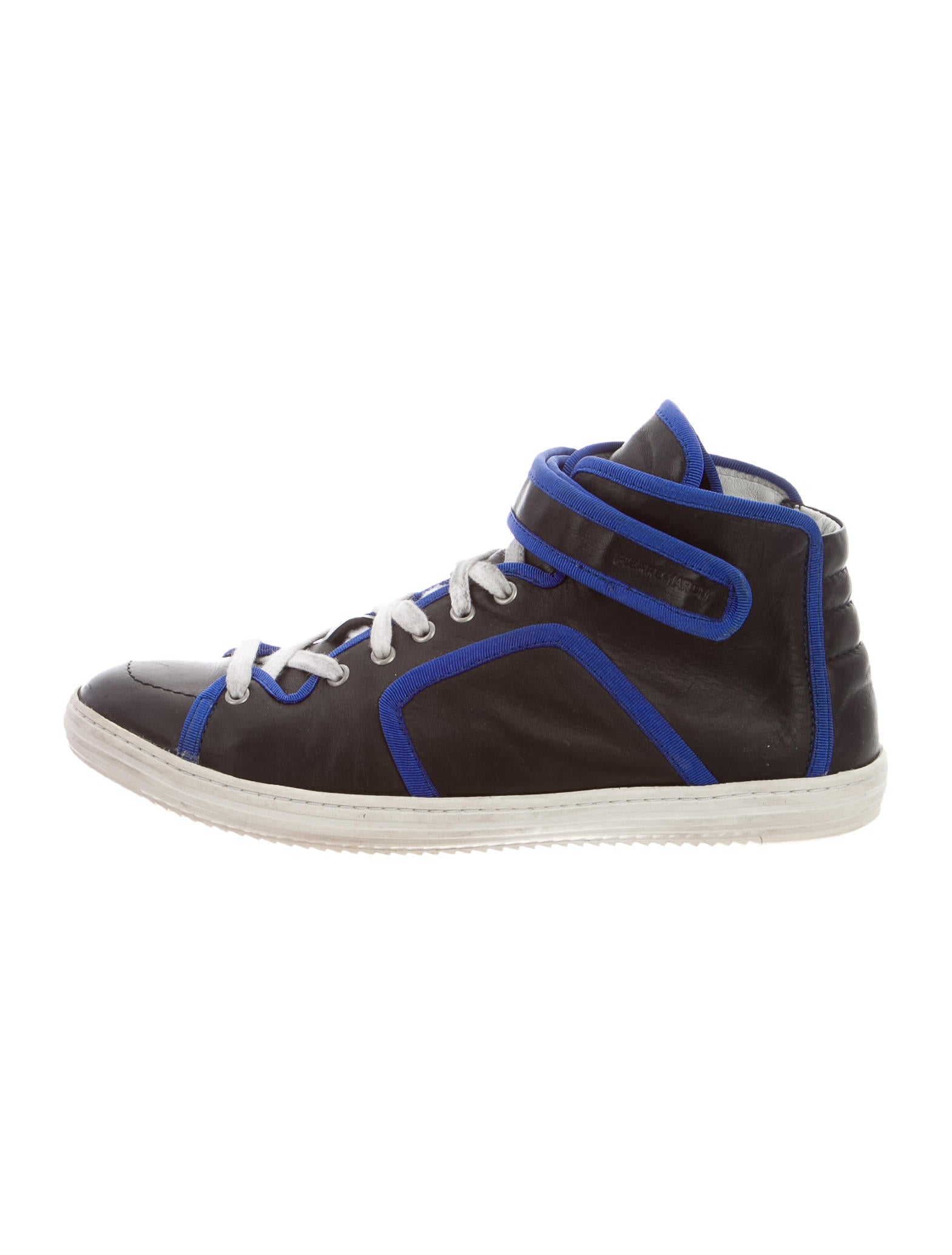 pierre hardy leather high top sneakers shoes pie23738 the realreal. Black Bedroom Furniture Sets. Home Design Ideas