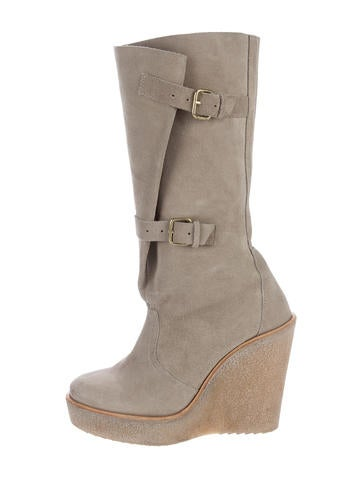 hardy buckle accented wedge boots shoes