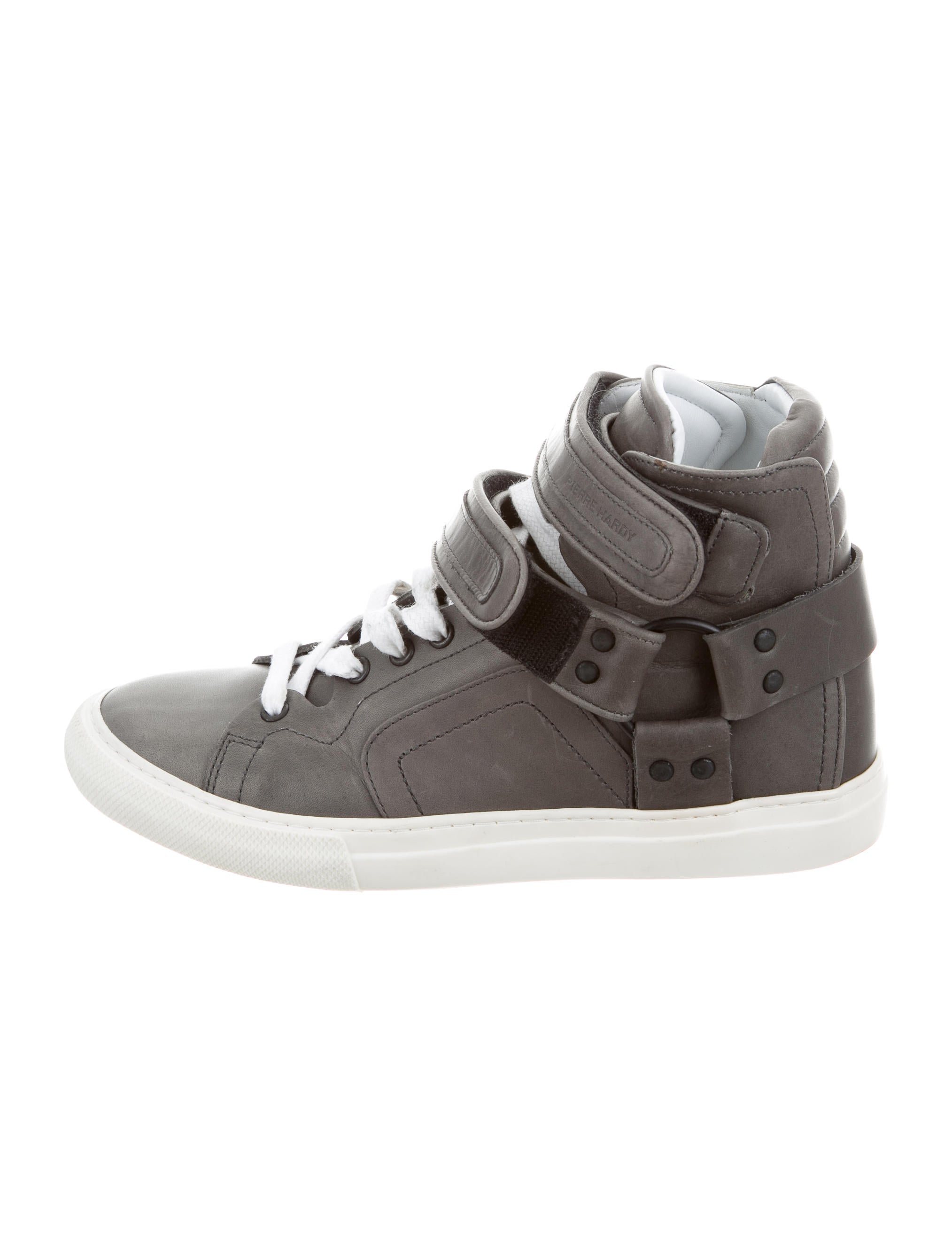pierre hardy leather high top sneakers shoes pie24494 the realreal. Black Bedroom Furniture Sets. Home Design Ideas