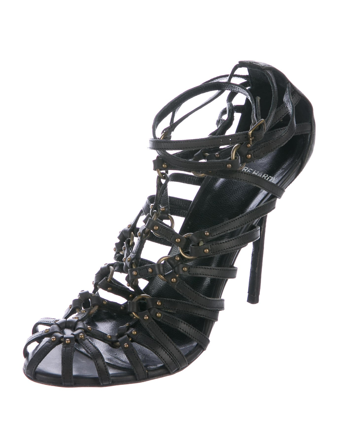 pierre hardy leather caged sandals shoes pie24792 the realreal. Black Bedroom Furniture Sets. Home Design Ideas