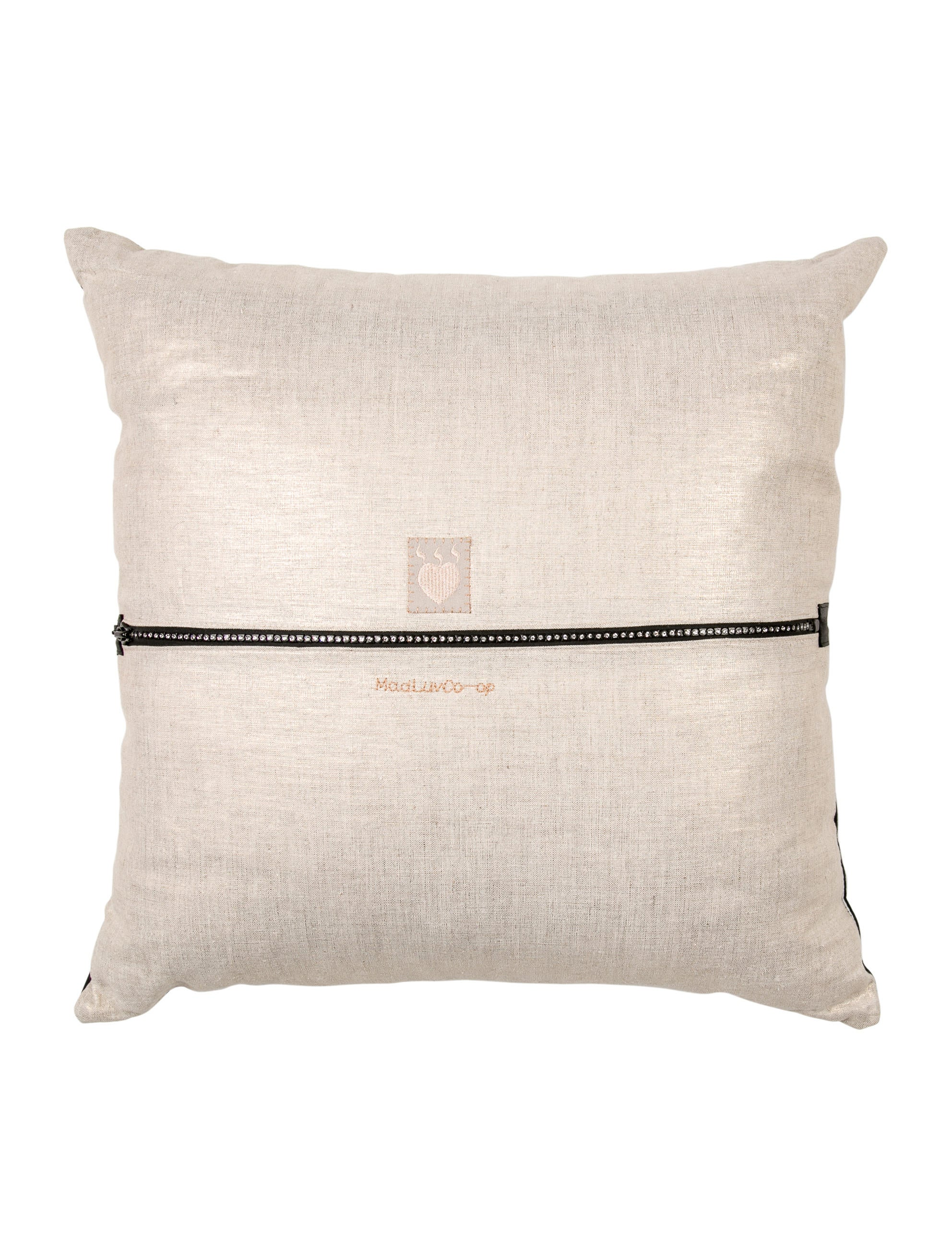 Throw Pillow Leather : Leather-Accented Throw Pillow - Bedding And Bath - PILLO20085 The RealReal