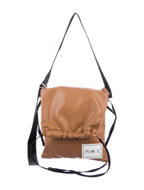 Plan C Leather Shoulder Bag Brown