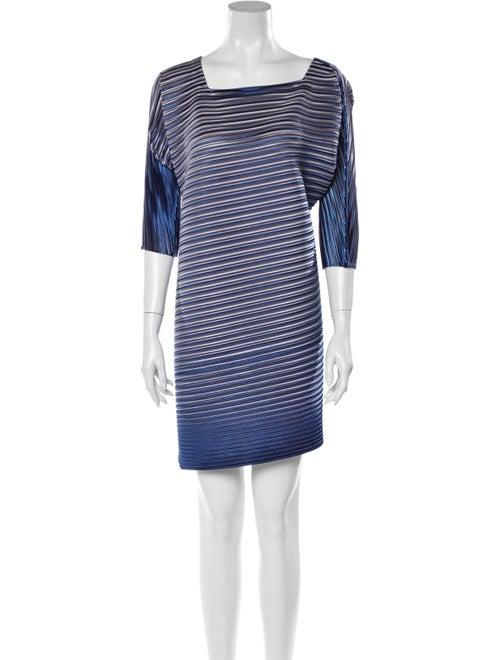 Pleats Please Issey Miyake Striped Mini Dress Blue - image 1