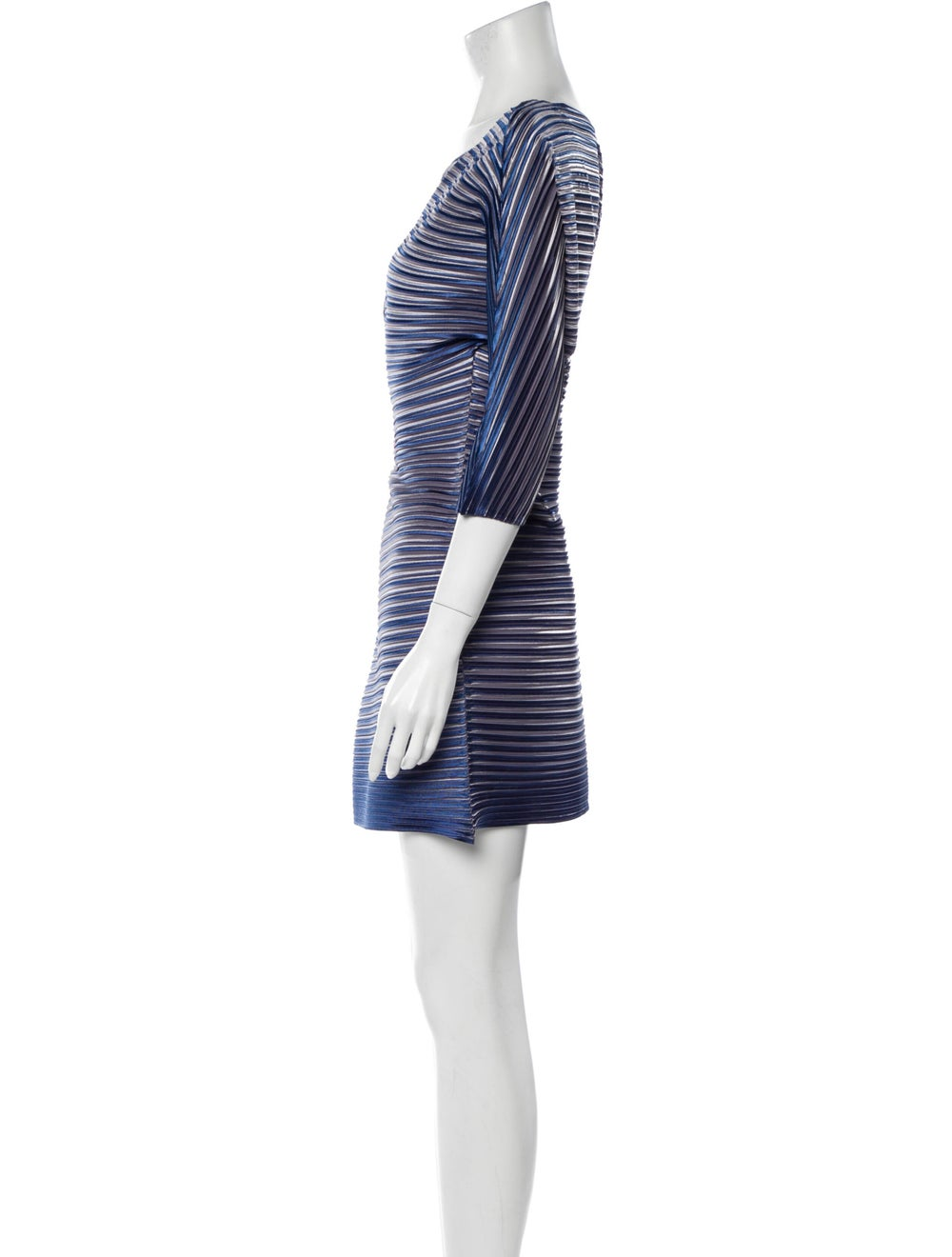 Pleats Please Issey Miyake Striped Mini Dress Blue - image 2