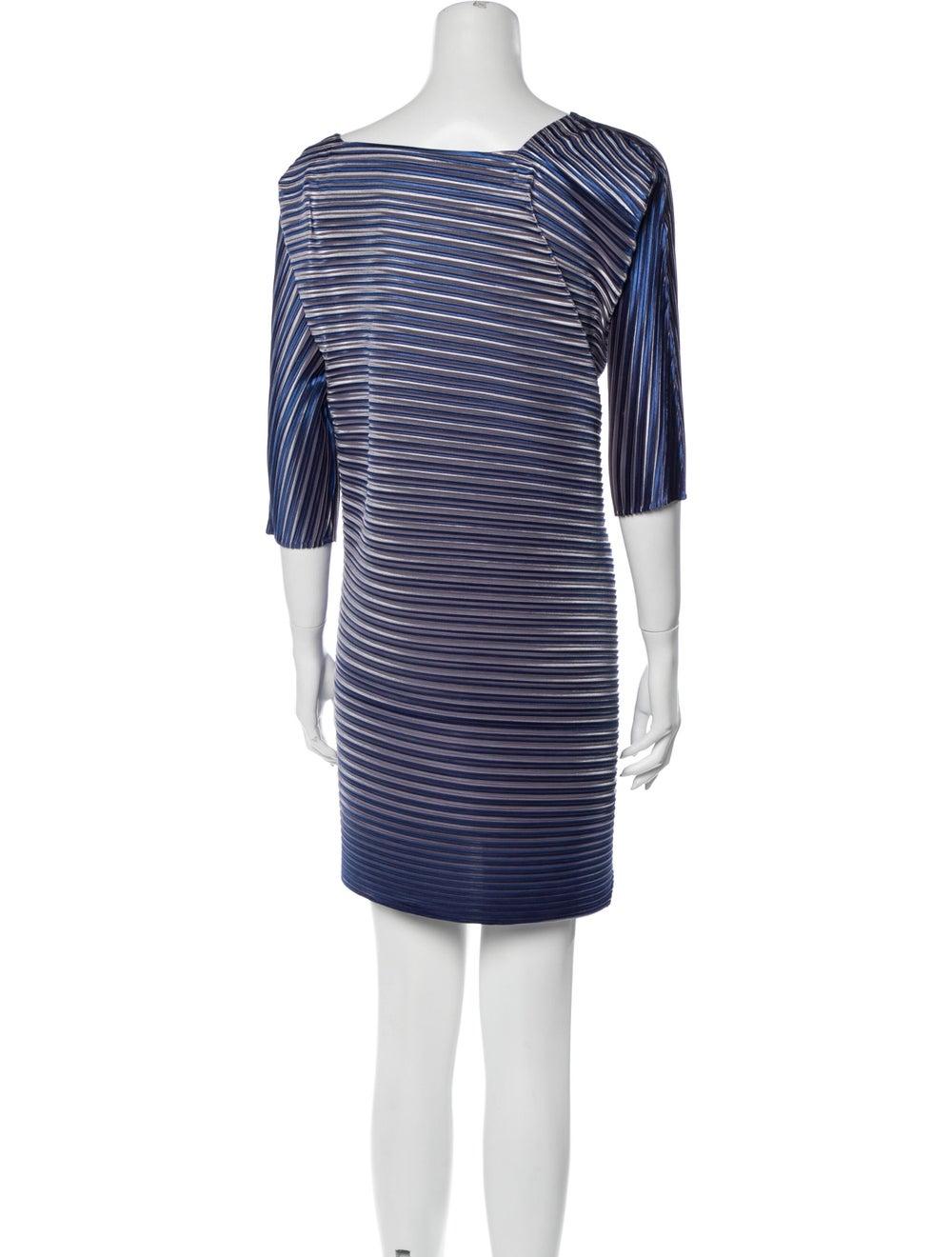 Pleats Please Issey Miyake Striped Mini Dress Blue - image 3