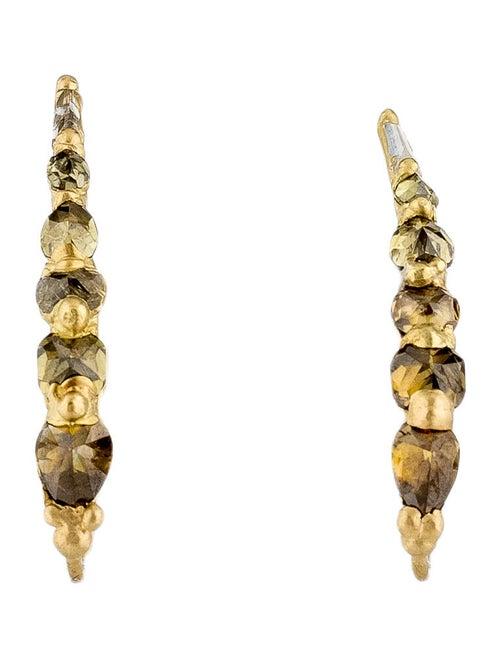 Polly Wales 18K Diamond Ear Climbers yellow