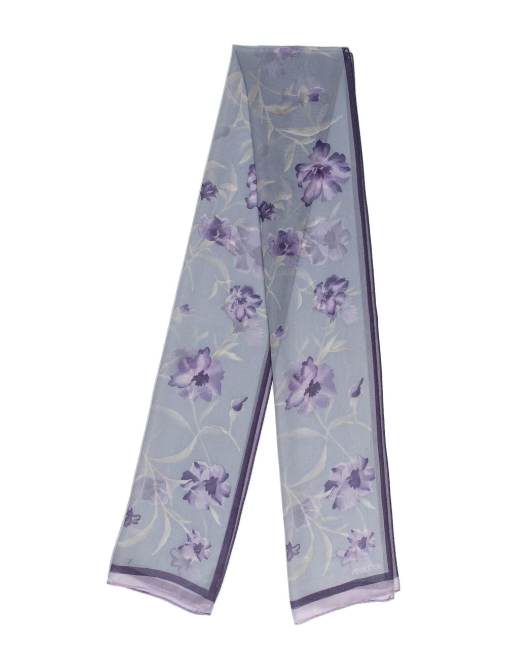 Pendleton Silk Floral Print Scarf Blue - image 1