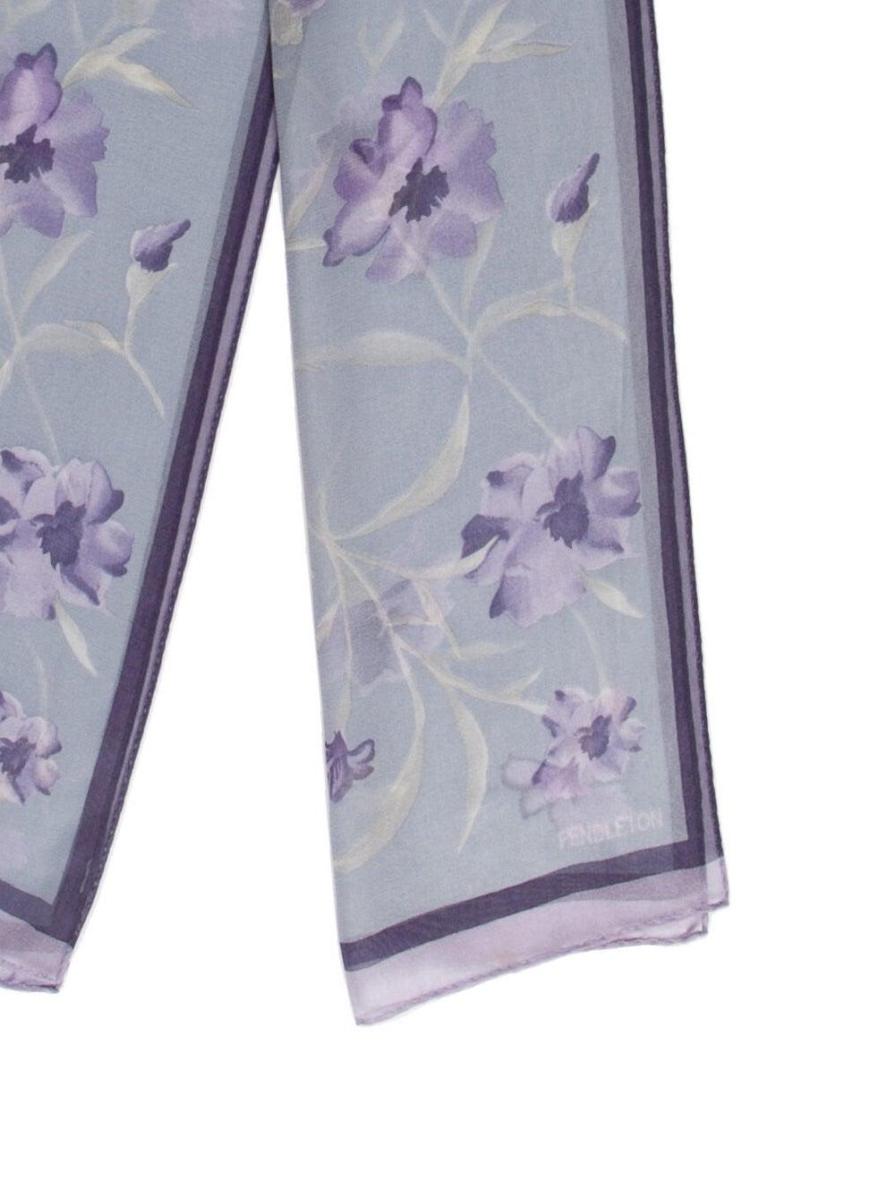 Pendleton Silk Floral Print Scarf Blue - image 2