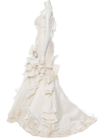 Jewel-Embellished Lace-Up Wedding Dress